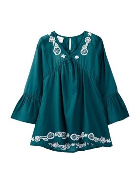 c648b2a68 Product Image Azul Little Girls Slate Blue Bell Sleeve Embroidered Tunic  Cover Up