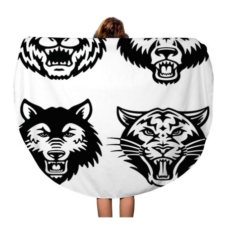 SIDONKU 60 inch Round Beach Towel Blanket Bear Mascot Wolf Tiger Head Panther Tattoo Grizzly Travel Circle Circular Towels Mat Tapestry Beach Throw](Bear Mascot Head Only)