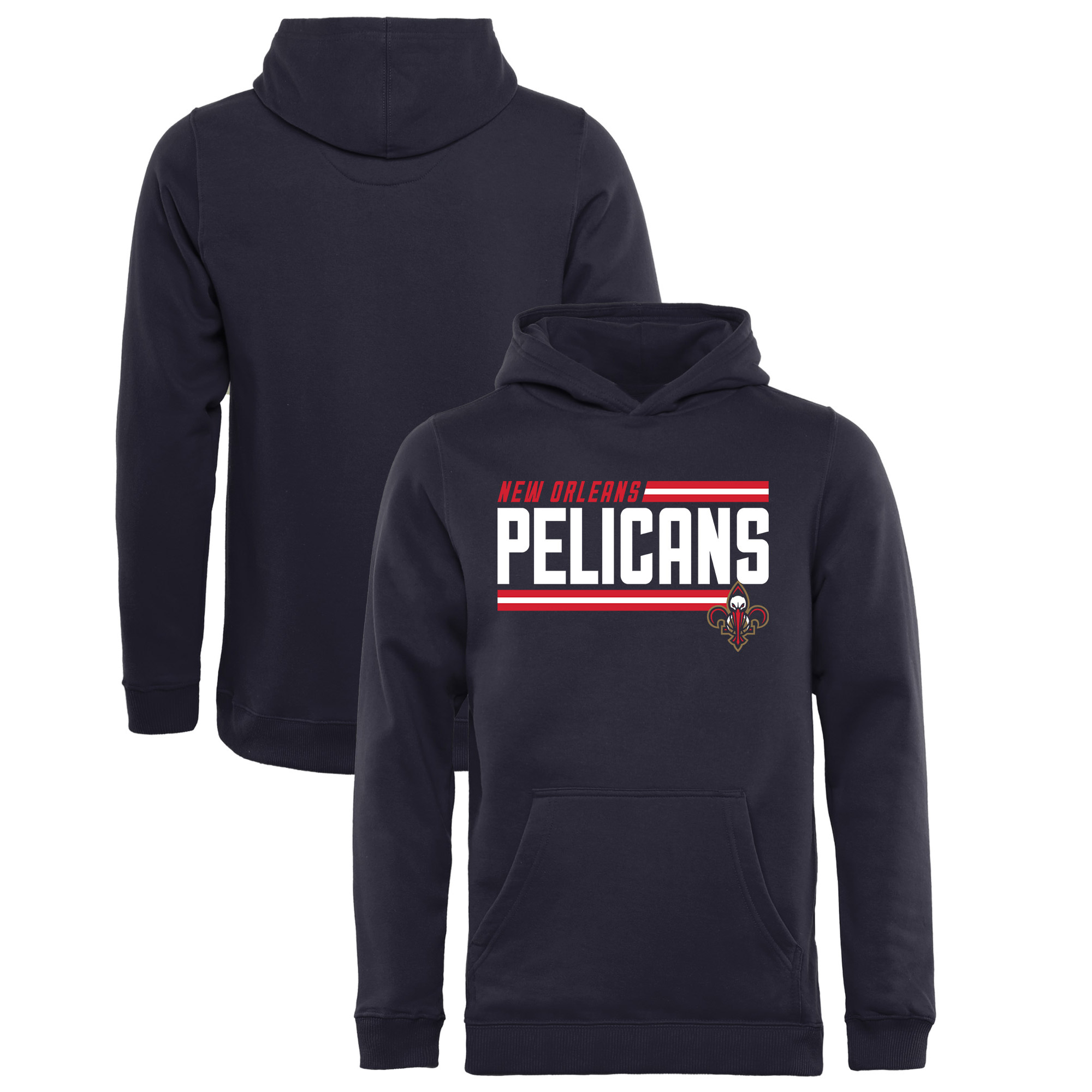 New Orleans Pelicans Fanatics Branded Youth Onside Stripe Pullover Hoodie - Navy
