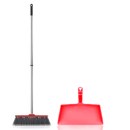 Fuller Brush Fiesta Red Kitchen Broom Complete with Clip-On Dustpan