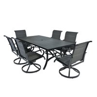 7pc Aluminum Padded Sling Swivel Rocking Patio Dining Set with Arms -Black/Grey