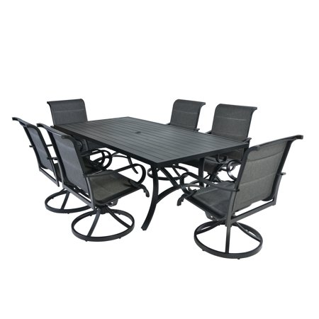 7pc Aluminum Padded Sling Swivel Rocking Patio Dining Set with Arms -Black/Grey ()