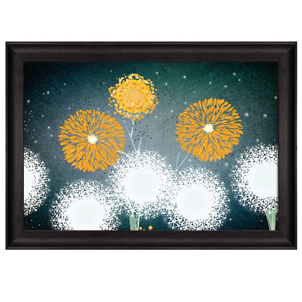 wall26 - Vector Illustration of Yellow and White Dandelions on a Teal Starry Background - Nature - Framed Art Prints, Home Decor - 24x36 inches