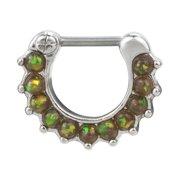 Bold Steel 16G 1.2mm Created Opal Paved Stainless Steel Septum Clicker, MOSS GREEN, 1006-MGRN