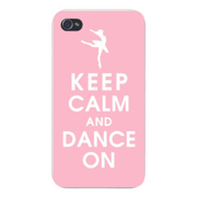 Apple Iphone Custom Case 4 4s White Plastic Snap on - Keep Calm and Dance On w/ Ballerina