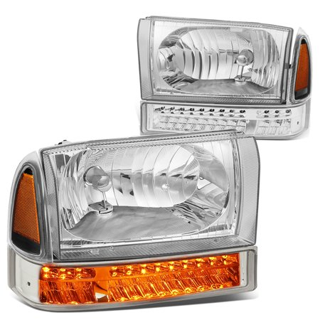 For 1999 to 2004 Ford F250 / F350 Super Duty Bumper+LED Turn Signal Headlight Chrome Housing Amber Corner Headlamp 00 01 02 03 Excursion (Ford F250 Super Duty Corner)
