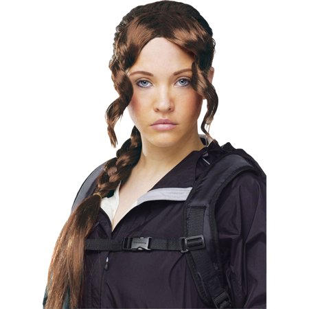 District Girl Katniss Wig Braid Girl on Fire Teen Adult Costume New, Style FW92187