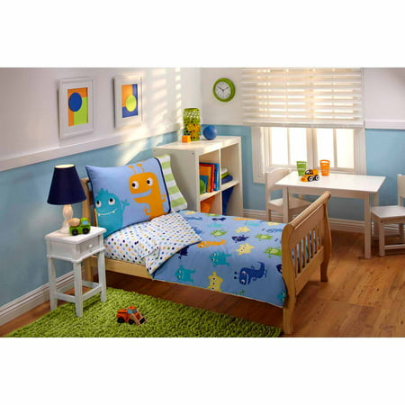 everything kids monsters 3 piece toddler bedding set with