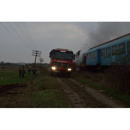 The local fire brigade (from the nearest main town, Slatina) arrived about 15 minutes after we halte Poster Print 24 x (Nearest Warehouse)