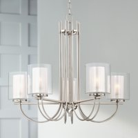 "Possini Euro Design Brushed Nickel Chandelier 26 3/4"" Wide Curved Arms Clear Frosted Glass 5-Light Fixture for Dining Room House"