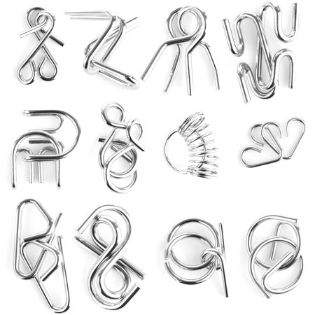 12Pcs Metal Wire Puzzles Brain Teaser Classical Intellectual Toy - Silver