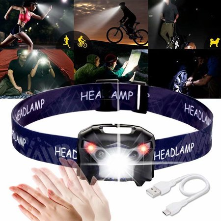 VicTsing Waterproof Rechargeable LED USB Infrared Headlight Camping Hiking Fishing Induction Head Lamp Torch,black 14 Led Headlamp