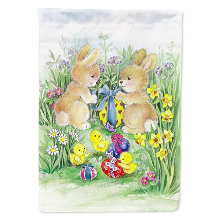 Caroline's Treasures Easter Bunnies with Eggs 2-Sided Polyester 15 x 11 in. Garden (Easter Eggs Garden Flag)