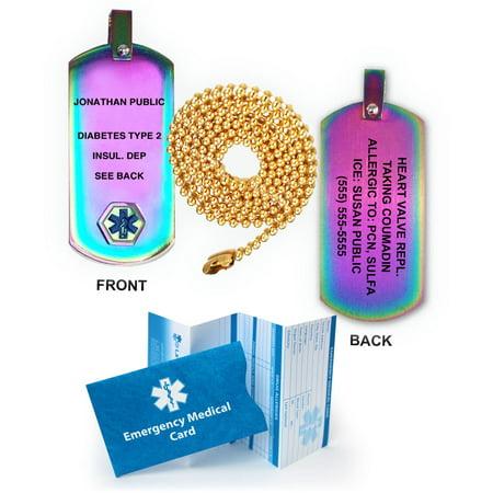 Anodized Titanium Medical Alert Dog Tag Pendant. Incl. Custom Engraving and