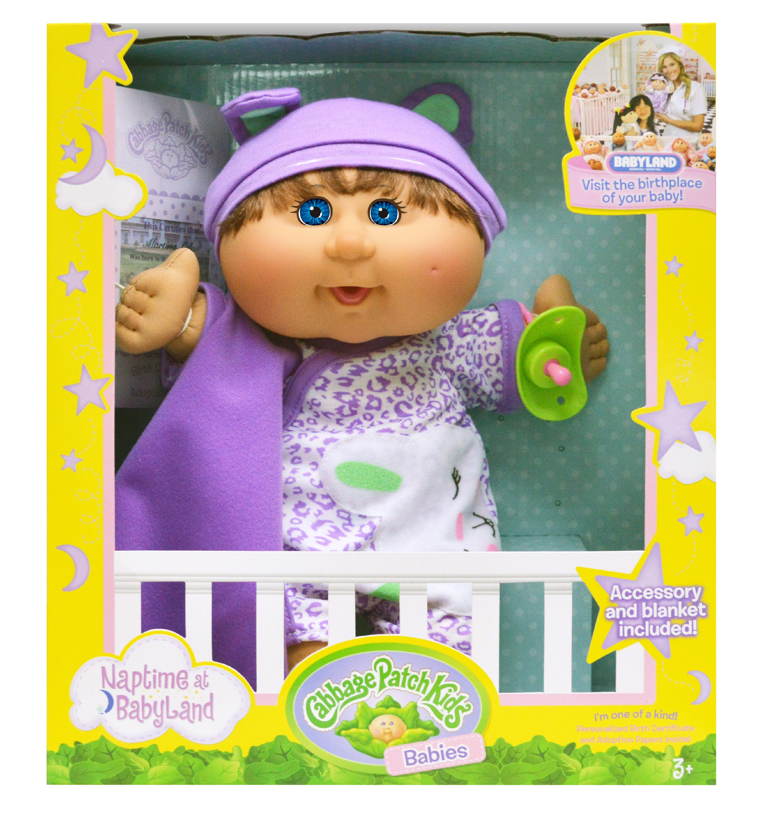 Click here to buy Cabbage Patch Kids Naptime Babies Doll, Brunette Blue Eye Girl by Wicked Cool Toys.