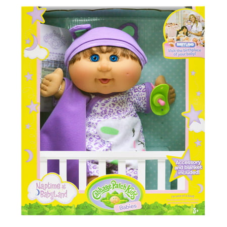 Cabbage Patch Preemies - Cabbage Patch Kids Naptime Babies Doll, Brunette/Blue Eye Girl