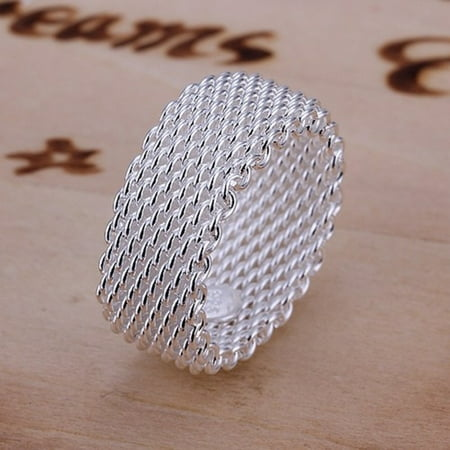 - Modern Sterling Silver Woven Mesh Ring