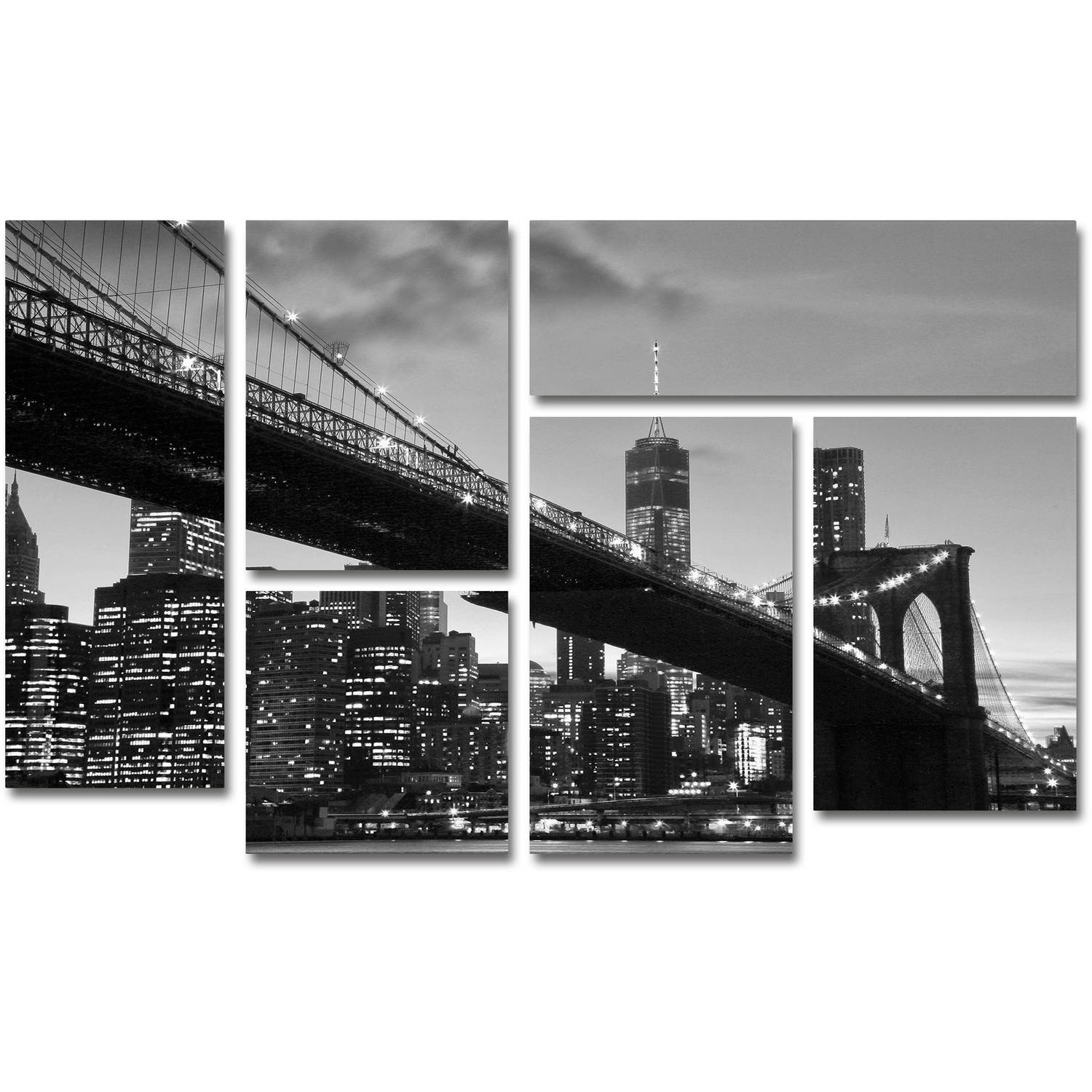 Trademark fine art brooklyn bridge 5 canvas art by cateyes 6 piece multi panel art set walmart com