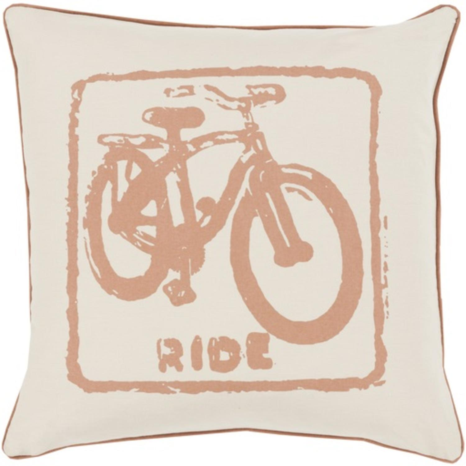 "18"" Beige and Brown Relaxing Ride Decorative Throw Pillow"