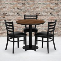 "30"" Round Walnut Laminate Table Set, 3 Ladder Back Metal Chairs"