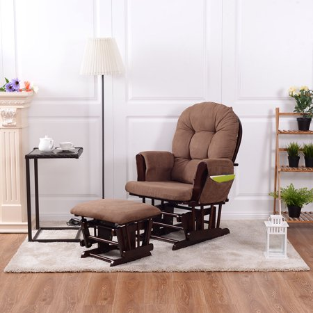 Costway Baby Nursery Relax Rocker Rocking Chair Glider & Ottoman Set w ...