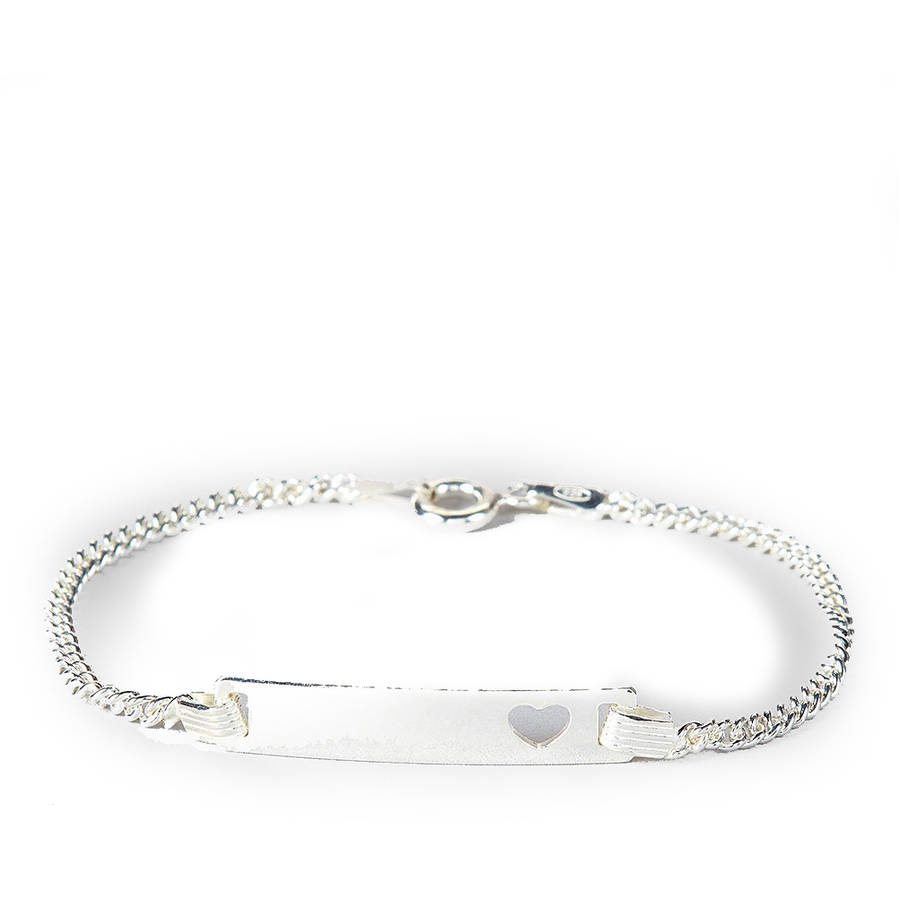 """Pori Jewelers Sterling Silver Baby ID Bracelet with Heart, 6"""" Cuban Chain"""