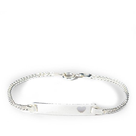 Sterling Silver Baby ID Bracelet with Heart, 6 Cuban Chain (Baby Owl Jewelry)