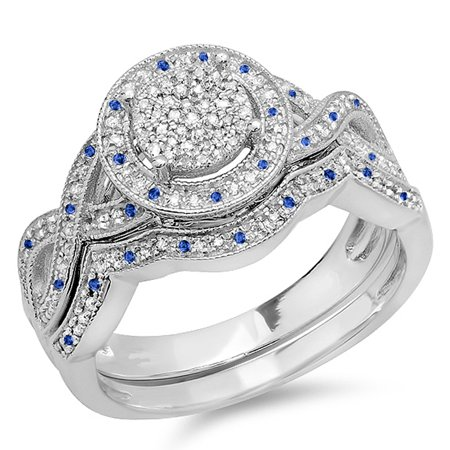 0.55 Carat (ctw) 14K White Gold Round Blue Sapphire And White Diamond Womens Micro Pave Engagement Ring Set 1/2 CT