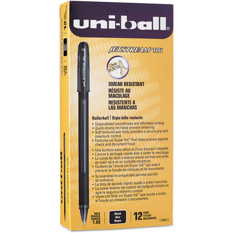 Uni-ball Jetstream 101 Roller Ball Stick Water-Resistant Pen, Black Ink, Medium, 12pk