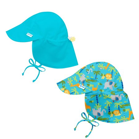 i play Baby and Toddler Flap Sun Protection Hat-Aqua and Jungle - 2 Pack