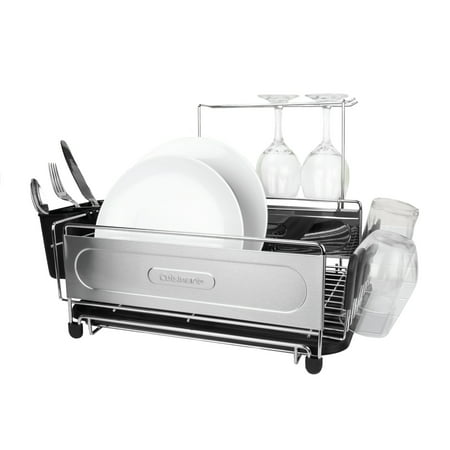 """Cuisinart Stainless Steel Dish Drying Rack, Includes Wire Dish Drying Rack, Utensil Caddy, Draining Board, Stemware Holder, and Non-Slip Cup Holders, 14.4"""" x 12"""" x 6""""- Stainless Steel/Black Stainless Steel Heart Dish"""