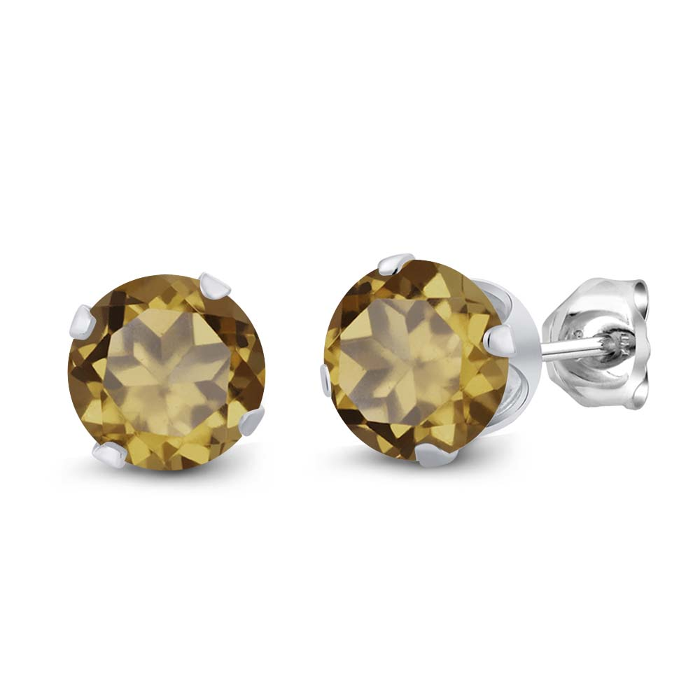 1.60 Ct Round Whiskey Quartz Sterling Silver 4-prong Stud Earrings 6mm