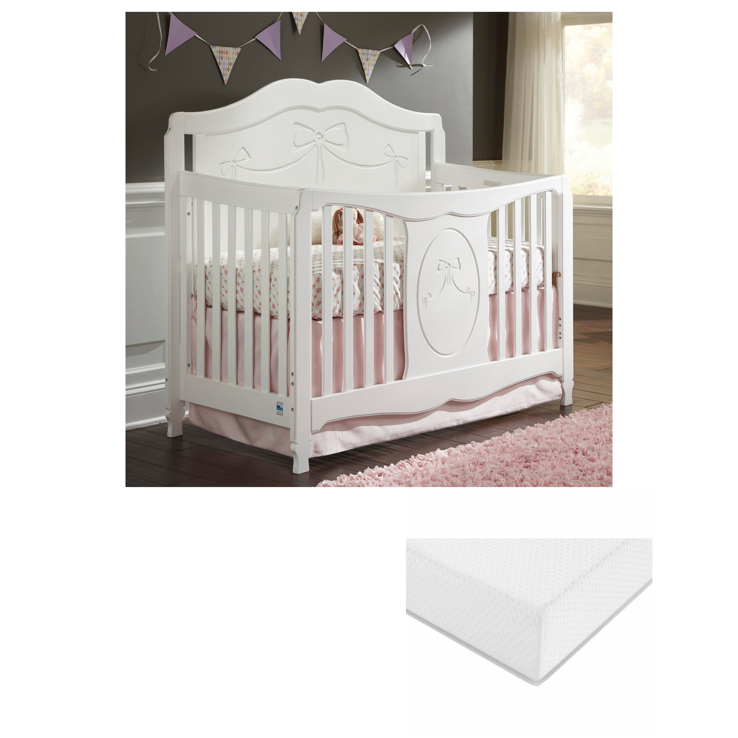 Storkcraft Princess 4 in 1 Convertible Crib with BONUS Graco Premium Foam Mattress