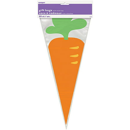 Easter Carrot Cone Cellophane Bags, 20-Count](Easter Gift Bags)