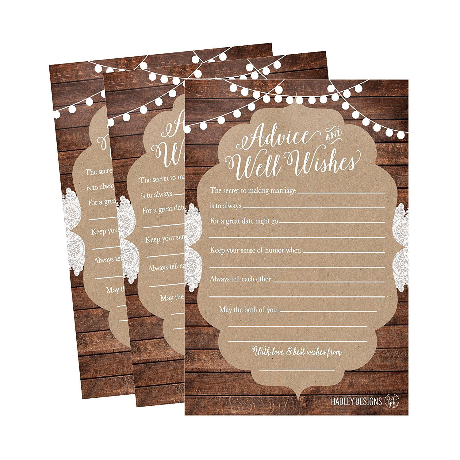 Wedding Advice Cards for the Bride and Groom x 10 RUSTIC COUNTRY Wedding