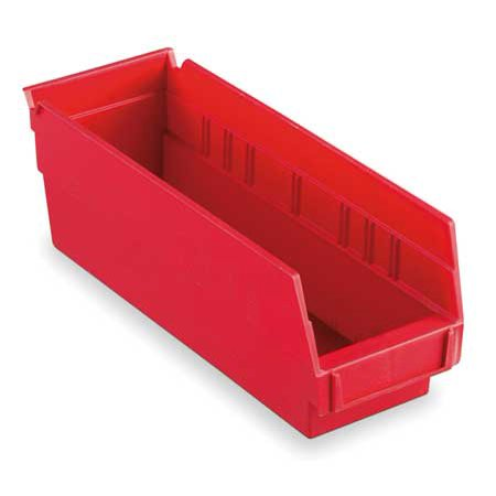 Akro-Mils 10 lb Capacity, Shelf Bin, Red 30120RED