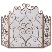 """36"""" Gold and Bronze Fireplace Screen with Hand Forged Iron Scrolling Design"""