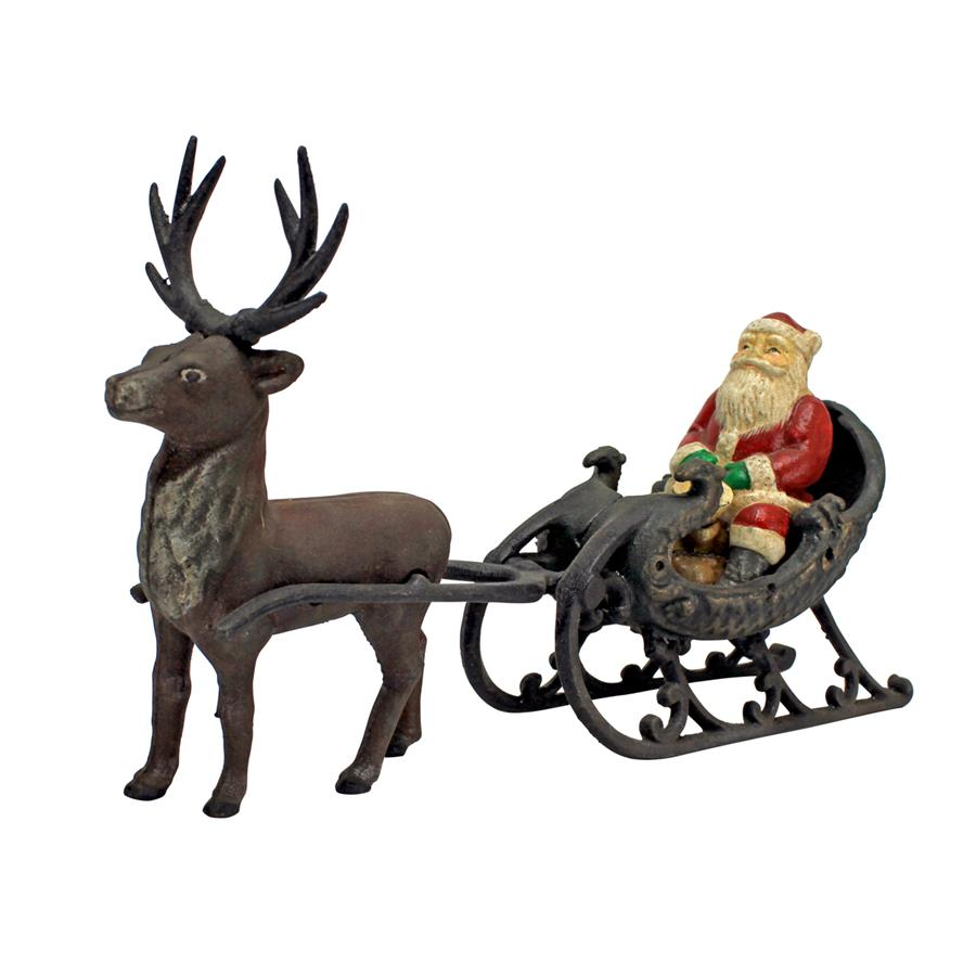 Christmas Santa on Sleigh with Reindeer Die-Cast Iron Statue by Design Toscano
