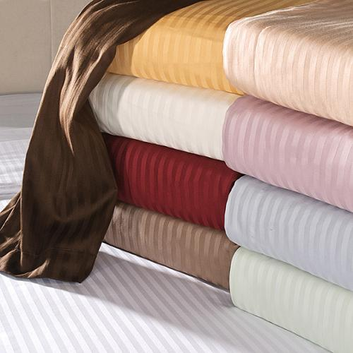 Egyptian Cotton 650 Thread Count Striped Pillowcase Set Standard / Beige