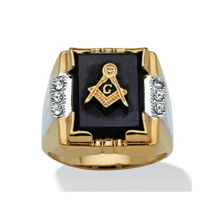 Tone Onyx Gemstone (Men's Genuine Onyx and Crystal Two-Tone Masonic Ring 14k Gold-Plated Sizes 8-16)