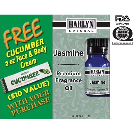 Best Jasmine Fragrance Oil 10 mL - Top Scented Perfume Oil - Premium Grade - by Harlyn - Includes FREE Cucumber Face & Body Nourishing
