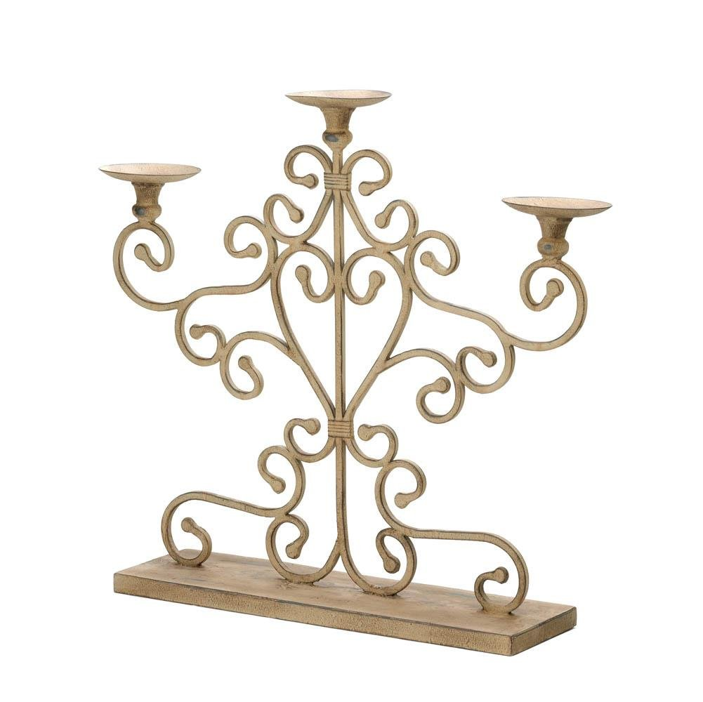 Candle Candelabra, Antiqued Centerpiece Vintage Small Metal Candelabra Stand by Gallery of Light