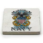 US Navy Navy Full Print Eagle Single Natural Stone Coaster