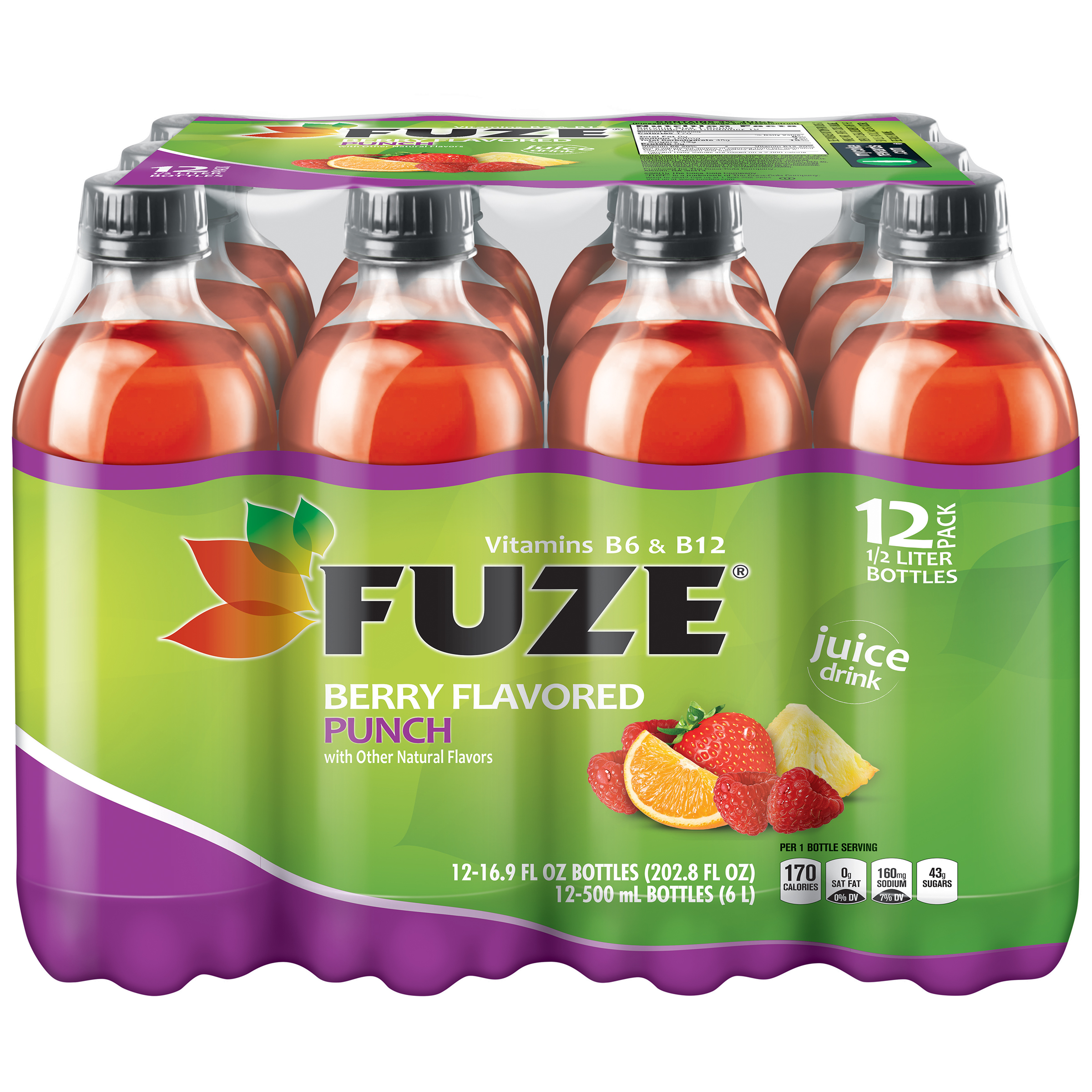 FUZE, Berry Flavored Punch, 16.9 fl oz, 12 Pack