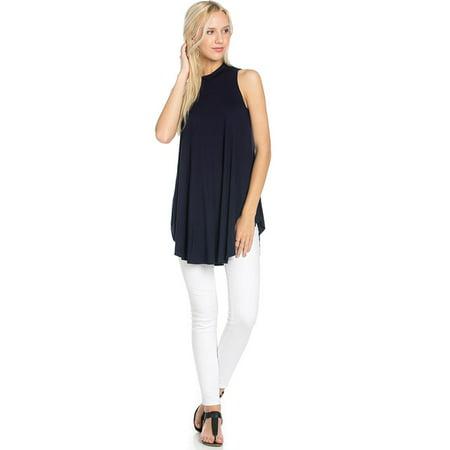 Sassy Apparel Womens Soft  Comfortable Round Neck Sleeveless Round Hem Flowy Ruffle Styling Spring Summer Fashion Tunic Top