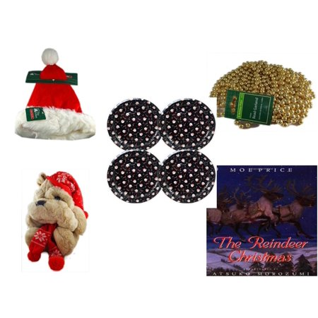 Christmas Fun Gift Bundle [5 Piece] - Trim A Home Deluxe Santa Hat Adult Medium - Gold Bead Garland Strand 18