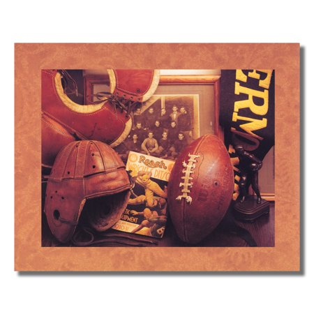 Football Helmet Pads and Old Memorabilia Photo Wall Picture 8x10 Art Print ()
