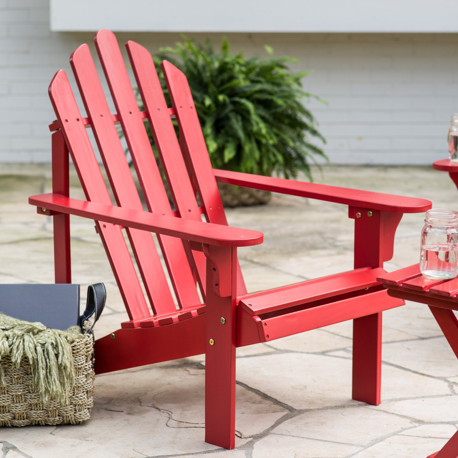 Coral Coast Pleasant Bay Acacia Adirondack Chair - Red