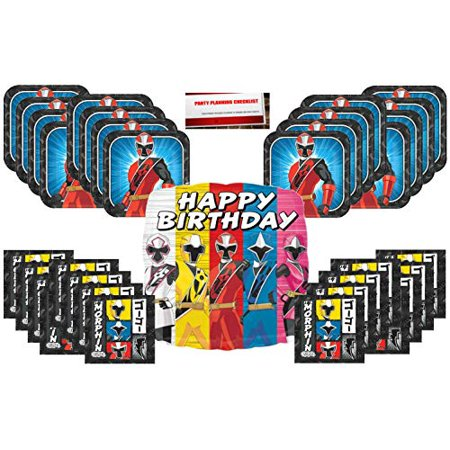 Its Party Time (Power Rangers Ninja Steel Its Morphin Time Birthday Party Supplies Bundle Pack for 16 Plus 17)