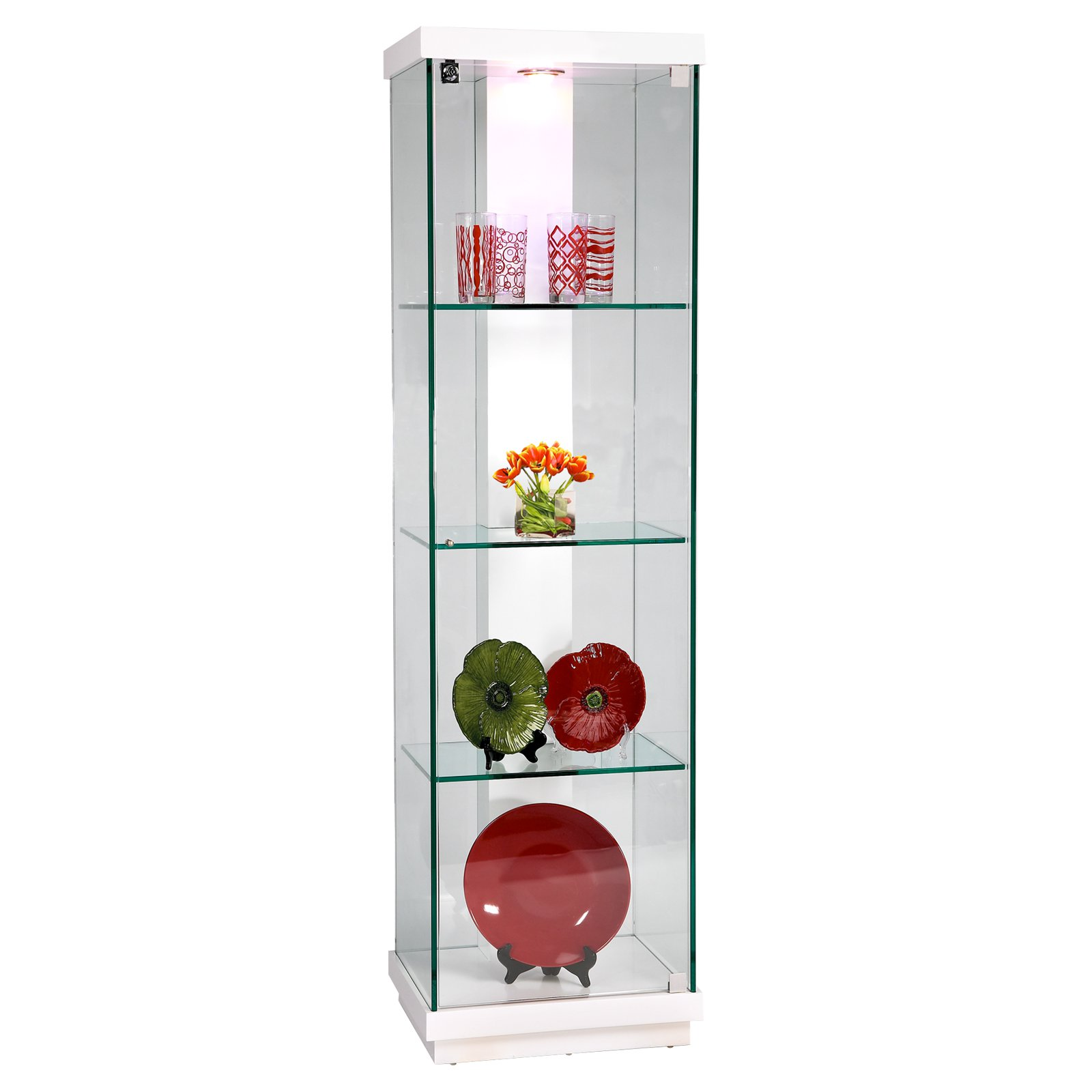 Chintaly Luna White Accent Glass Curio Cabinet by Chintaly Furniture